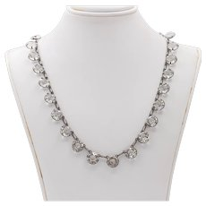 Art Deco 1920s Sterling Open Back Silver Paste Riviere 15 Inch Necklace