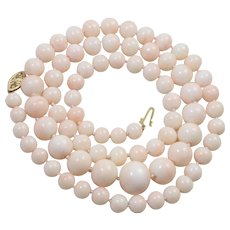 Long Graduated Angel Skin Coral Single Strand Bead and 14K Gold Clasp Necklace