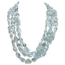 Natural 350 Carat Aquamarine and Pearl Sterling Silver Multi-Strand Necklace Choker