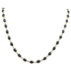 Vintage 14 Carat Cabochon Sapphires by the Yard and 14K Gold Necklace Chain