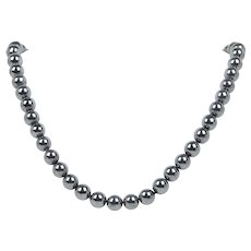 Heavy Hematite Beaded and 18K Gold Necklace