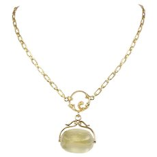 Antique Art Nouveau Citrine Spinner 14K Gold Engraved Necklace Chain