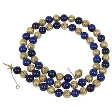Vintage Heavy 14K Gold and Lapis Lazuli 26 Inch Beaded Necklace