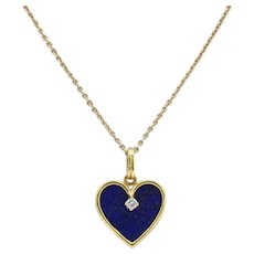 18K Gold Lapis Lazuli and Diamond Pendant with 14K Gold Chain