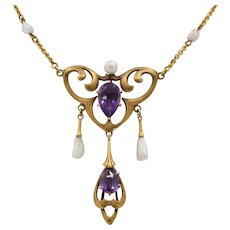 Art Nouveau 18K Gold Amethyst and Pearl Drop Antique Necklace