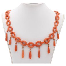 Victorian Natural Coral and 10K Gold Festoon Fringe Choker Necklace