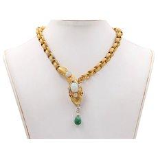Victorian Opal, Diamond, Emerald 18K Gold Snake Necklace, Statement Chain