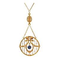 Art Nouveau Krementz 14K Gold Sapphire, Pearl Garland and Bow Lavalier Necklace