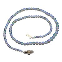 Edwardian Graduated Opal Bead Strand Necklace with Platinum and Diamond Clasp, Layering Chain