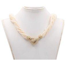 Multi-Strand Torsade Pearl Necklace with Interlocking 18K Gold and 3.5 Carat Diamond Clasp