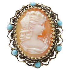 Large Vintage Cameo Ring with Turquoise Accents and 14K Gold