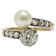 Edwardian Toi Et Moi Pearl and Diamond 14K Gold Bypass Anniversary Ring
