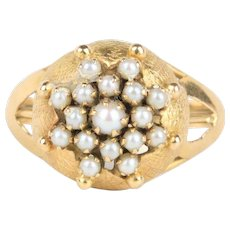 Vintage Seed Pearl and 14K Gold Star Floral Designed Ring