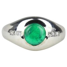 Unisex 2 Carat Cabochon Emerald and Diamond 14K White Gold Ring