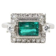 Vintage Horizontally Set Emerald and Diamond 18K Gold Ring