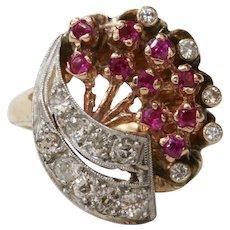 Retro 14K Rose Gold Ruby and Diamond Falling Star Ring
