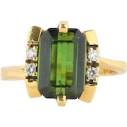 Cool Natural Green Tourmaline and Diamond Funky 18K Gold Ring