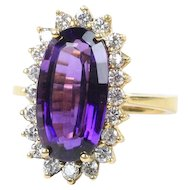 Regal 7.5 Carat Amethyst and Diamond 18K Gold Cocktail Ring