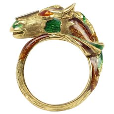 Vintage 18K Gold Diamond and Enamel Horse Equestrian Ring