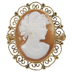 Vintage 14K Gold Carved Shell Italian Cameo Ring