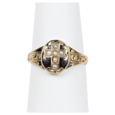 Victorian Memorial Black Enamel Seed Pearl 15K Gold Cross English Ring Band