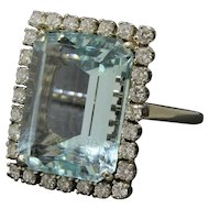 Large 15 Carat Aquamarine and 1.15 Carat Diamond Statement Ring