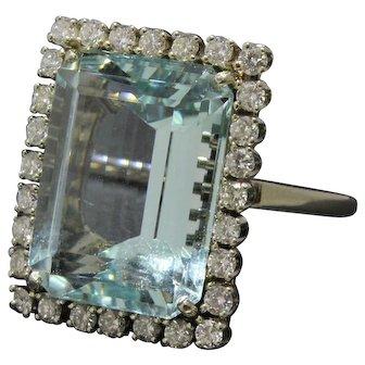Large 15 Carat Aquamarine and 1.15 Carat Diamond Statement Ring