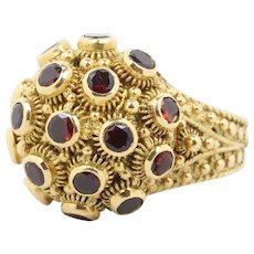 Vintage Victorian Revival 18K Gold and Garnet Poison Ring Locket Ring
