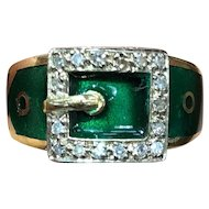 Vintage English 18K Gold Green Enamel and Diamond Buckle Ring