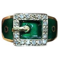 Vintage English 18K Gold Green Enamel and Diamond Buckle Ring