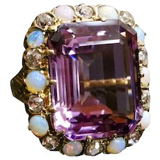 Large Midcentury 19 Carat Amethyst Opal and Diamond 14K Gold Cocktail Ring