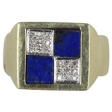 Lapis and Diamond Checkerboard 14K Gold Heavy Statement Ring