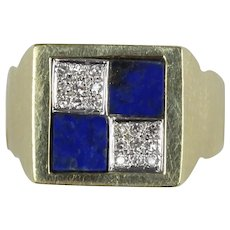 Lapis and Diamond Checkerboard 14K Gold Heavy Unisex Statement Ring