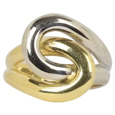 Vintage Infinity Knot 18K Gold Two Tone Ring Band