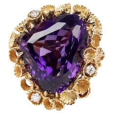 Statement 30 Carat Amethyst and Diamond 18K Gold Scalloped Cocktail Ring