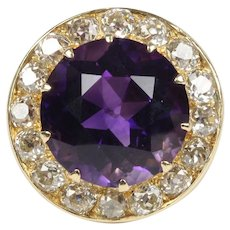 Midcentury 19 Carat Amethyst and 4 Carat Diamond 14K Gold Cocktail Ring