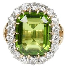 Midcentury 21 Carat Peridot and 4 Carat Diamond Gold Platinum Cocktail Ring