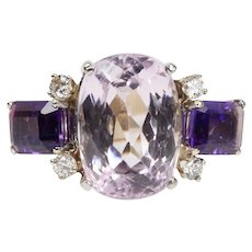 Pink Kunzite and Amethyst Diamond 14K Gold Cocktail Ring