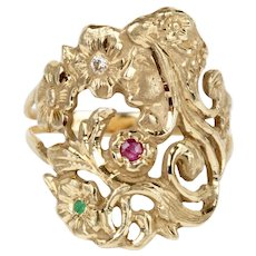 Art Nouveau Woman's Face with Flowers Diamond Ruby Emerald 14K Gold Ring Band