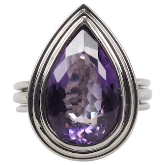 Sleek Pear Shaped Amethyst and 18K White Gold Modernist Cocktail Ring