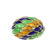 Vintage Orange, Green, and Blue Enameled Feather 18K Gold Dome Ring