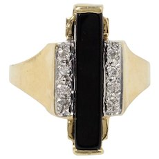Vintage Onyx and Diamond 14K Gold Architectural Ring