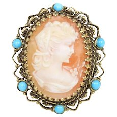 Vintage Shell Cameo Lady's Profile Turquoise Bead 14K Gold Statement Ring