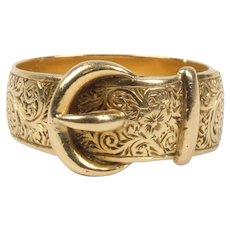 Victorian 18K Gold Circa 1859 Buckle Stacking Band Wedding Ring