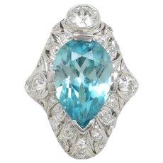 Edwardian GIA 9 Carat Blue Zircon and 1.3 Carat Diamond Platinum Navette Ring