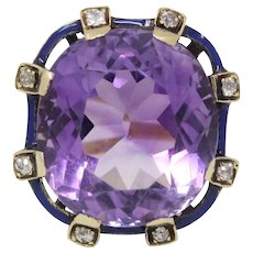 Antique Amethyst Diamond and Blue Enamel 14K Gold Cocktail Ring