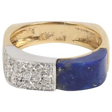 Vintage Lapis Lazuli and Diamond 14K Gold Funky Band Ring