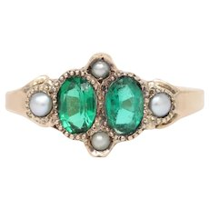 Victorian Emerald Paste and Seed Pearl 14K Gold Stacking Ring