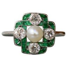 Edwardian Natural Emerald and 0.72 Carat Diamond Platinum Celtic Knot Ring