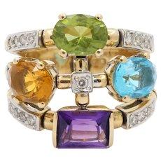 Vintage 18K Gold Diamond Peridot Citrine Amethyst Topaz Statement Ring